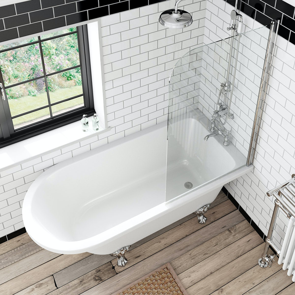 The bath co dulwich freestanding shower bath and bath for Shower over bath ideas