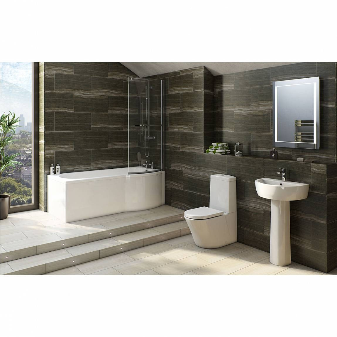 Mode Tate bathroom suite with right handed P shaped shower bath 1675 x 850
