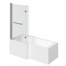 Image of Boston Shower Bath 1500 x 850 LH with 8mm Hinged Screen & Towel Rail with Front Panel