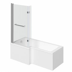 Boston left handed L shaped shower bath 1500mm with 8mm hinged shower screen and rail