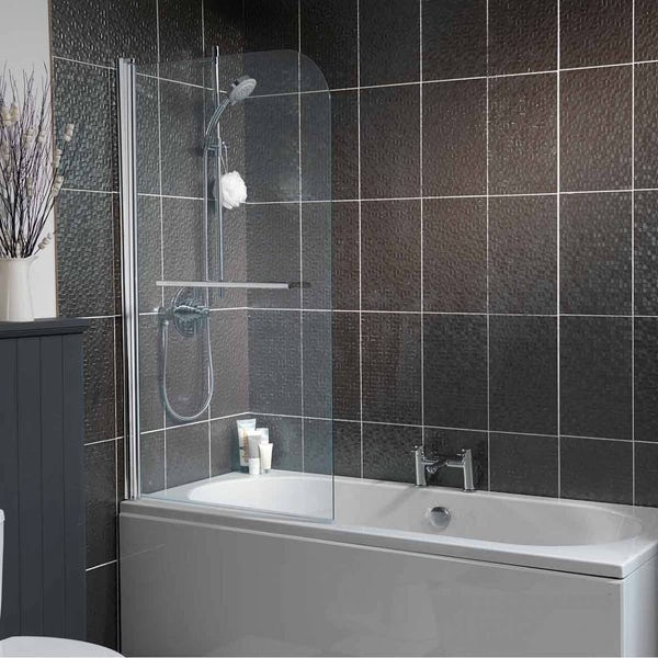 Curved Single Bath Screen with Towel Rail