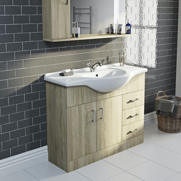 Eden oak vanity unit and basin 1050mm