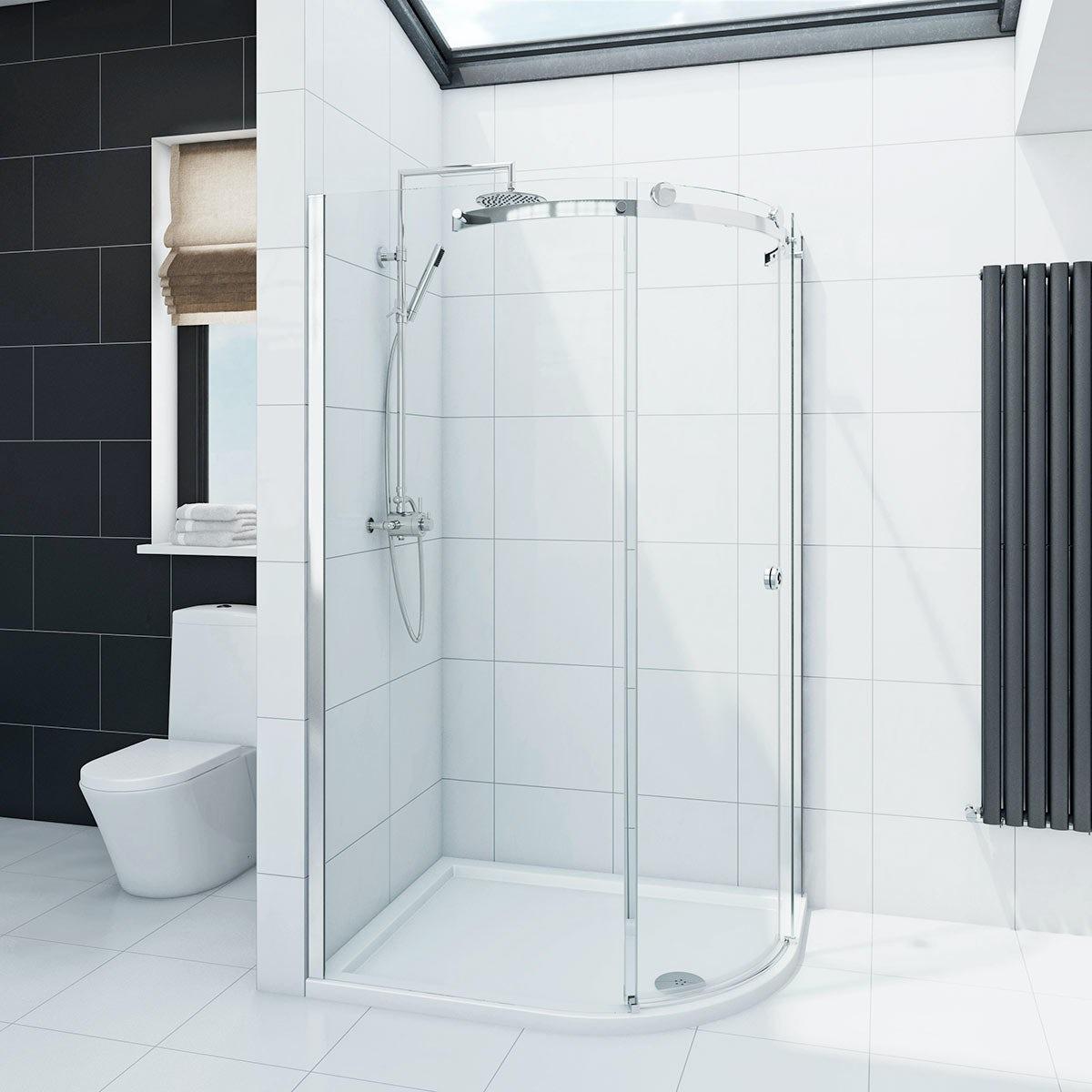 Mode Infiniti 8mm single sliding door right handed offset quadrant shower enclosure 900 x 760