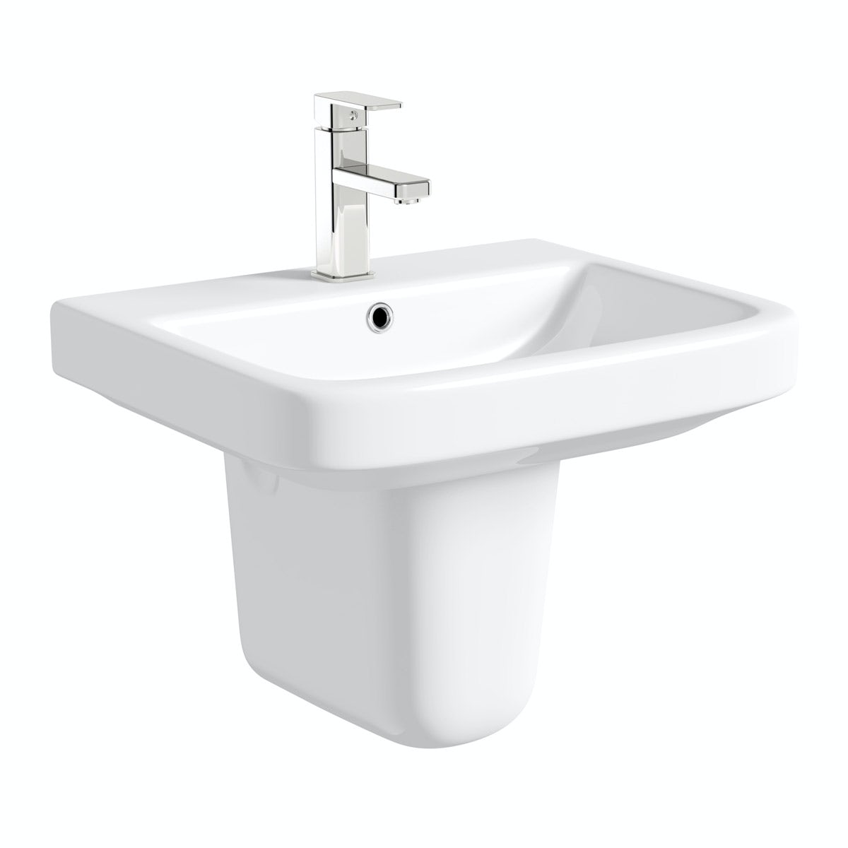 Mode Carter semi pedestal basin 550mm with waste