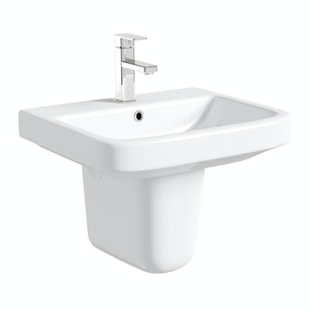 Mode Ive semi pedestal basin 550mm with waste
