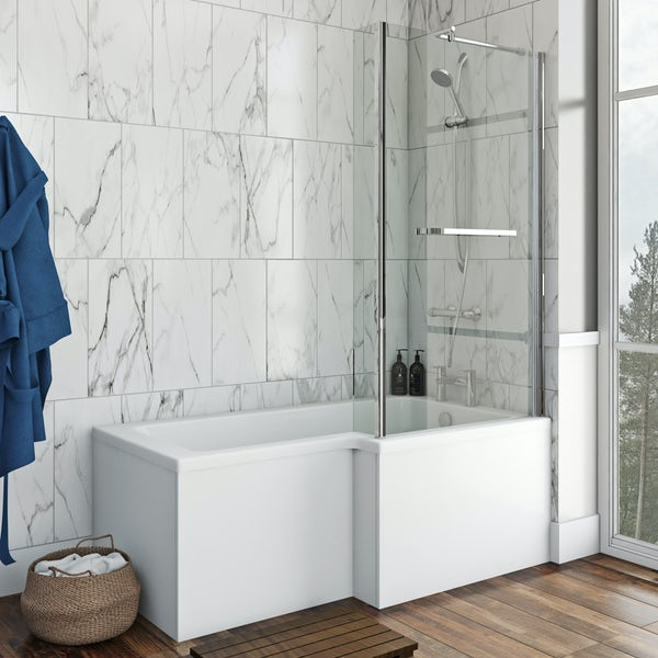 Orchard L shaped right handed shower bath 1500mm with 6mm shower screen and rail