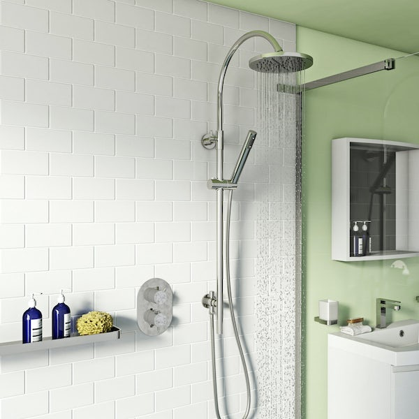 Harrison thermostatic shower valve with wall riser rail set