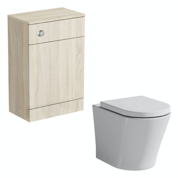 Orchard Wye oak back to wall unit with Tate toilet and seat