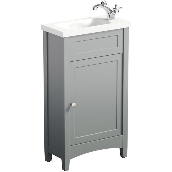 The Bath Co. Camberley satin grey cloakroom vanity with resin basin