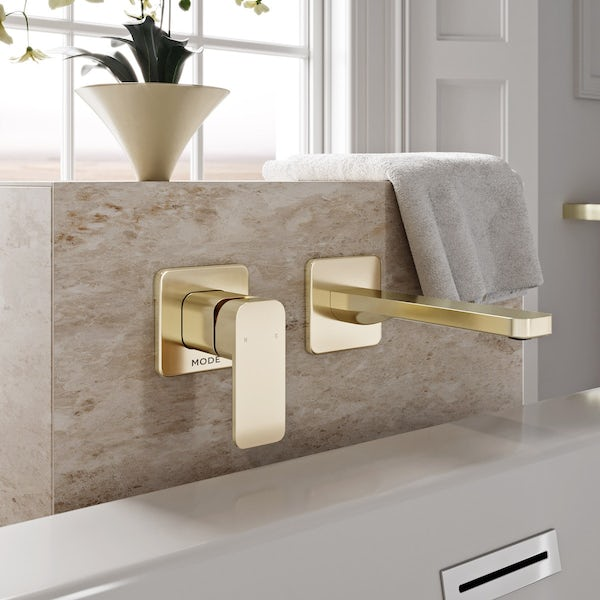 Mode Spencer square wall mounted gold bath mixer tap offer pack