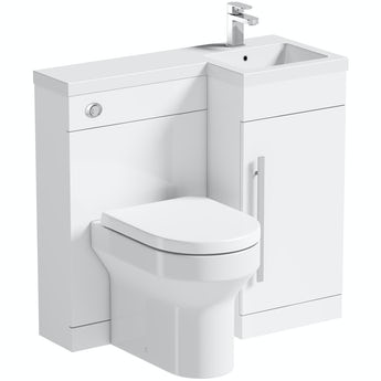 Orchard MySpace white right handed unit with contemporary back to wall toilet