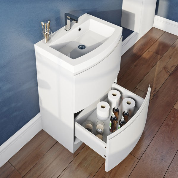 Mode Harrison snow furniture package with floorstanding drawer unit 600mm