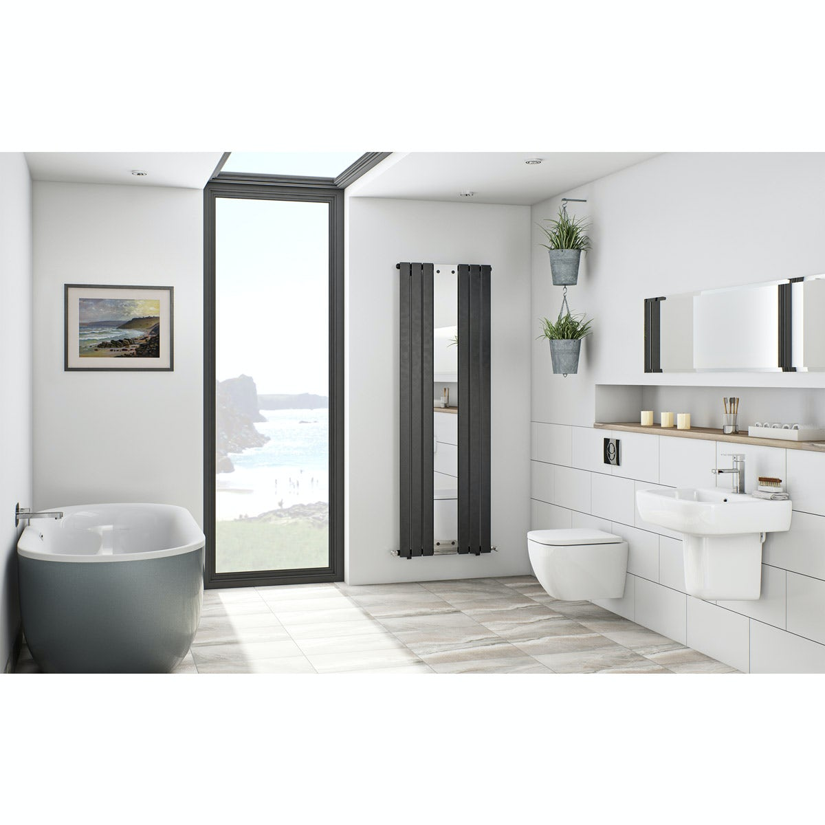Mode Ellis storm bathroom suite with freestanding bath