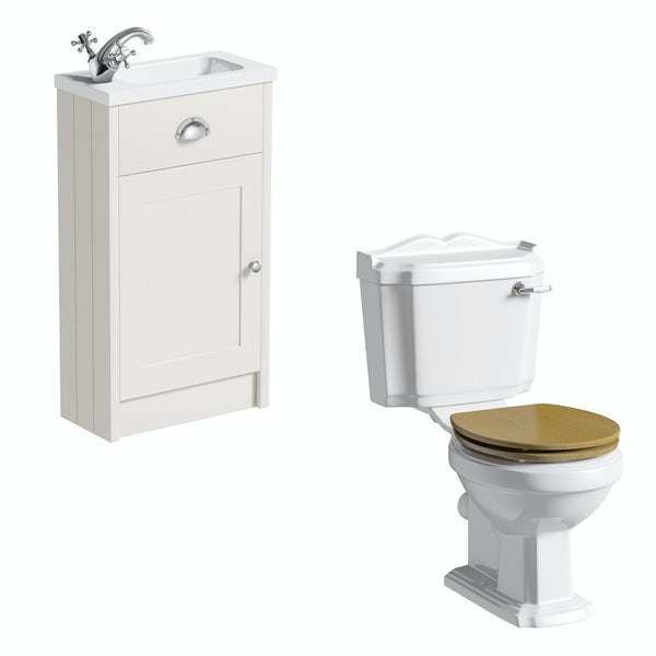 The Bath Co. Dulwich stone ivory cloakroom unit with traditional close coupled toilet and oak seat