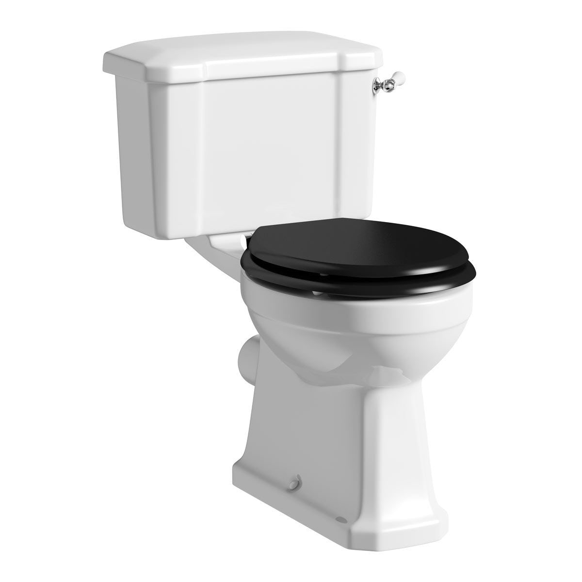 The Bath Co. Camberley close coupled toilet with wooden soft close seat black with pan connector