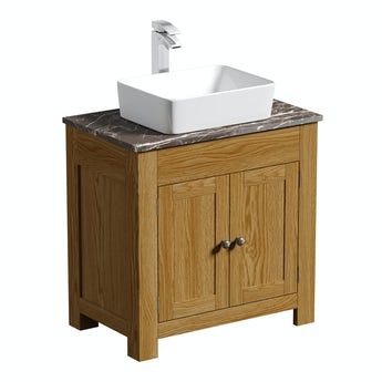 The Bath Co. Chester oak washstand 800mm with brown marble top and Baikal basin