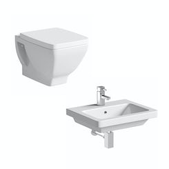 Verso back to wall toilet suite with wall hung basin 550mm