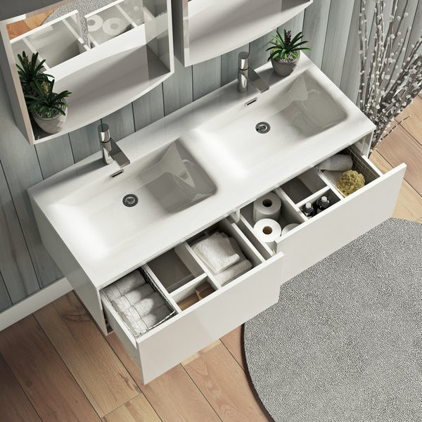Mode Burton white wall hung double basin vanity unit 1200mm