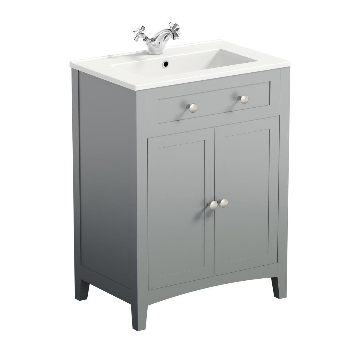 The Bath Co Camberley grey vanity unit with basin 600