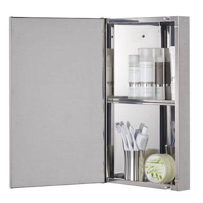 Radial stainless steel bathroom corner cabinet for Bathroom cabinets victoria plumb