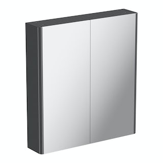 600mm grey curved mirror cabinet