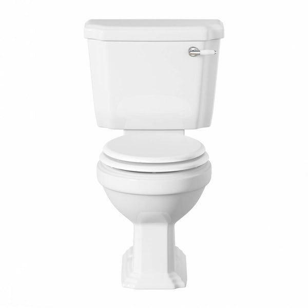 Dulwich close coupled toilet with soft close wooden toilet seat white with pan connector