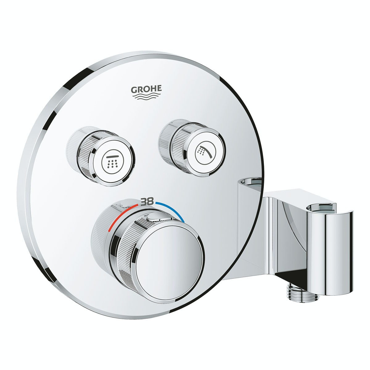 Grohe Grohtherm SmartControl round thermostatic concealed 2 way shower valve trimset with shower holder