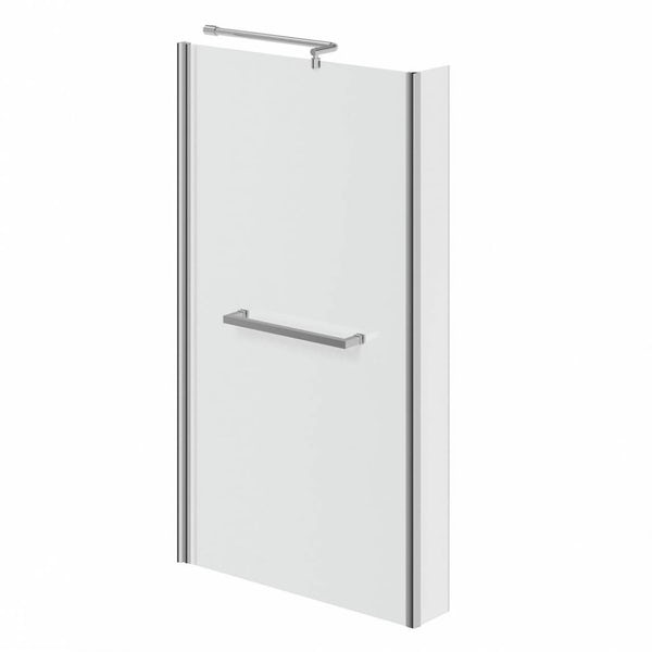 Mode Ellis left hand shower bath 1700 x 850 suite with Ellis white floor drawer unit