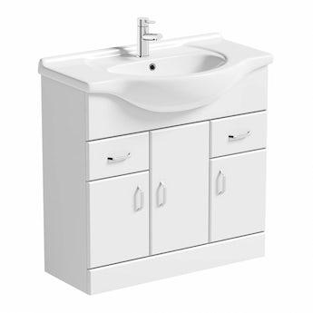 Granada 850 White Vanity Unit & Basin