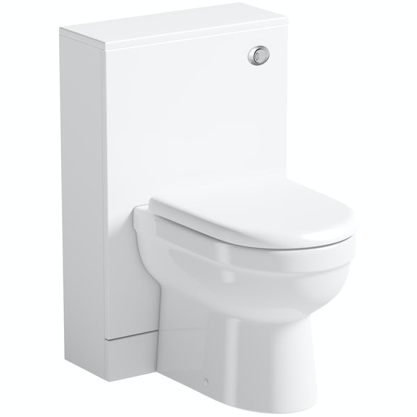Orchard Derwent white slimline back to wall unit and contemporary toilet with seat