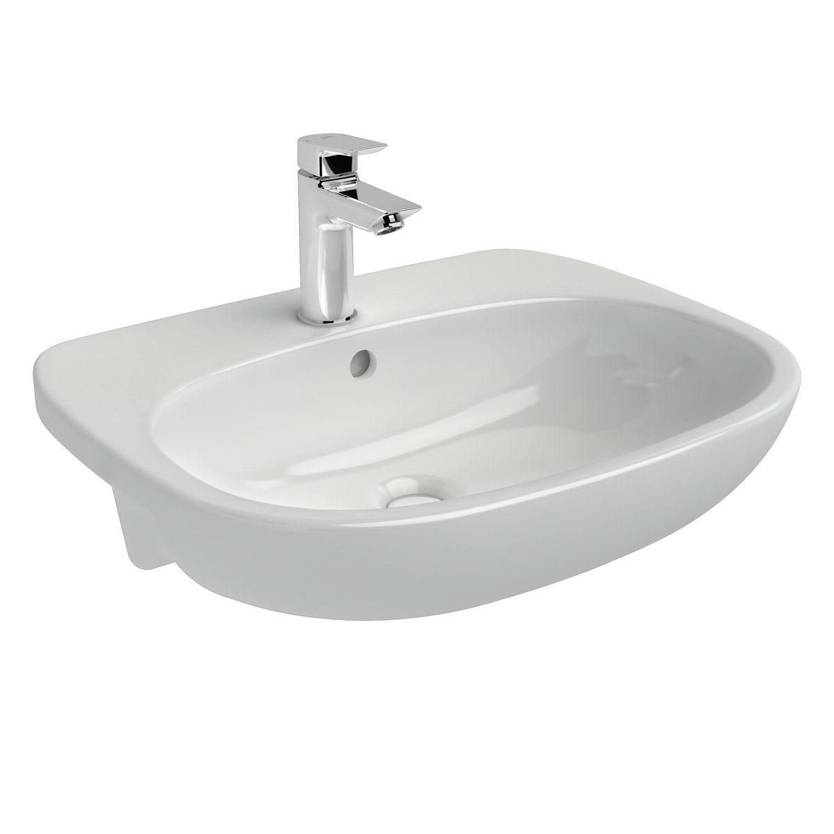 Ideal Standard Tesi 1 tap hole semi recessed countertop basin 550mm
