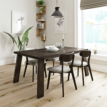 Lincoln walnut dining table with 4 x Ernest beige dining chairs