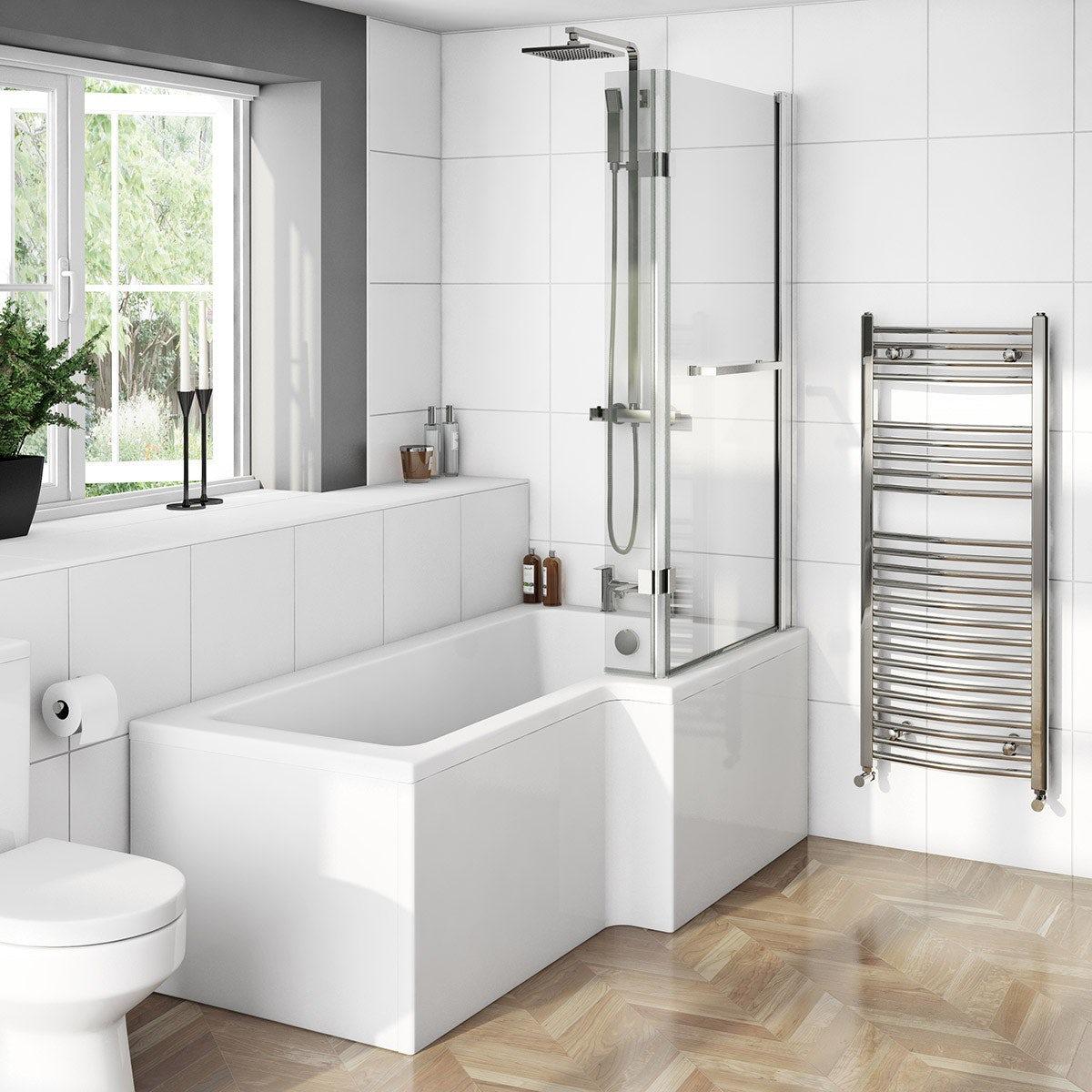 Boston Shower Bath 1700 x 850 RH inc. 8mm Hinged Screen with Towel Rail
