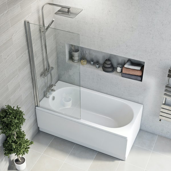 Clarity round edge straight shower bath with 5mm shower screen