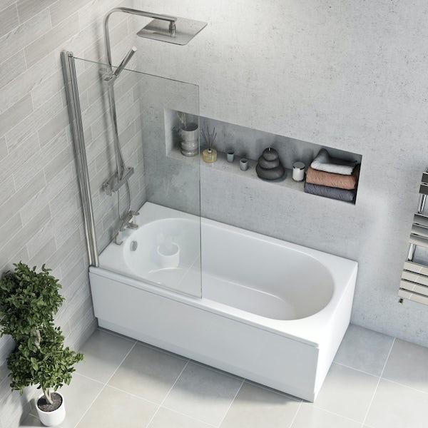 Eden round edge straight shower bath with 5mm shower screen