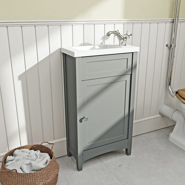 The Bath Co Camberley Satin Grey Cloakroom Vanity With