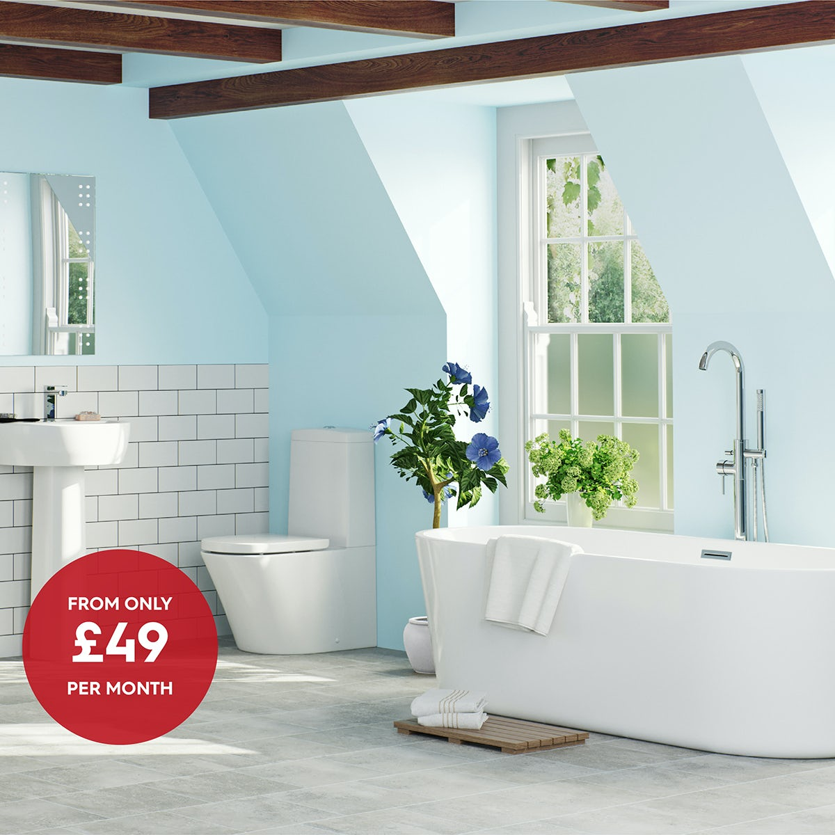 Mode Tate complete bathroom suite with Arte freestanding bath and taps