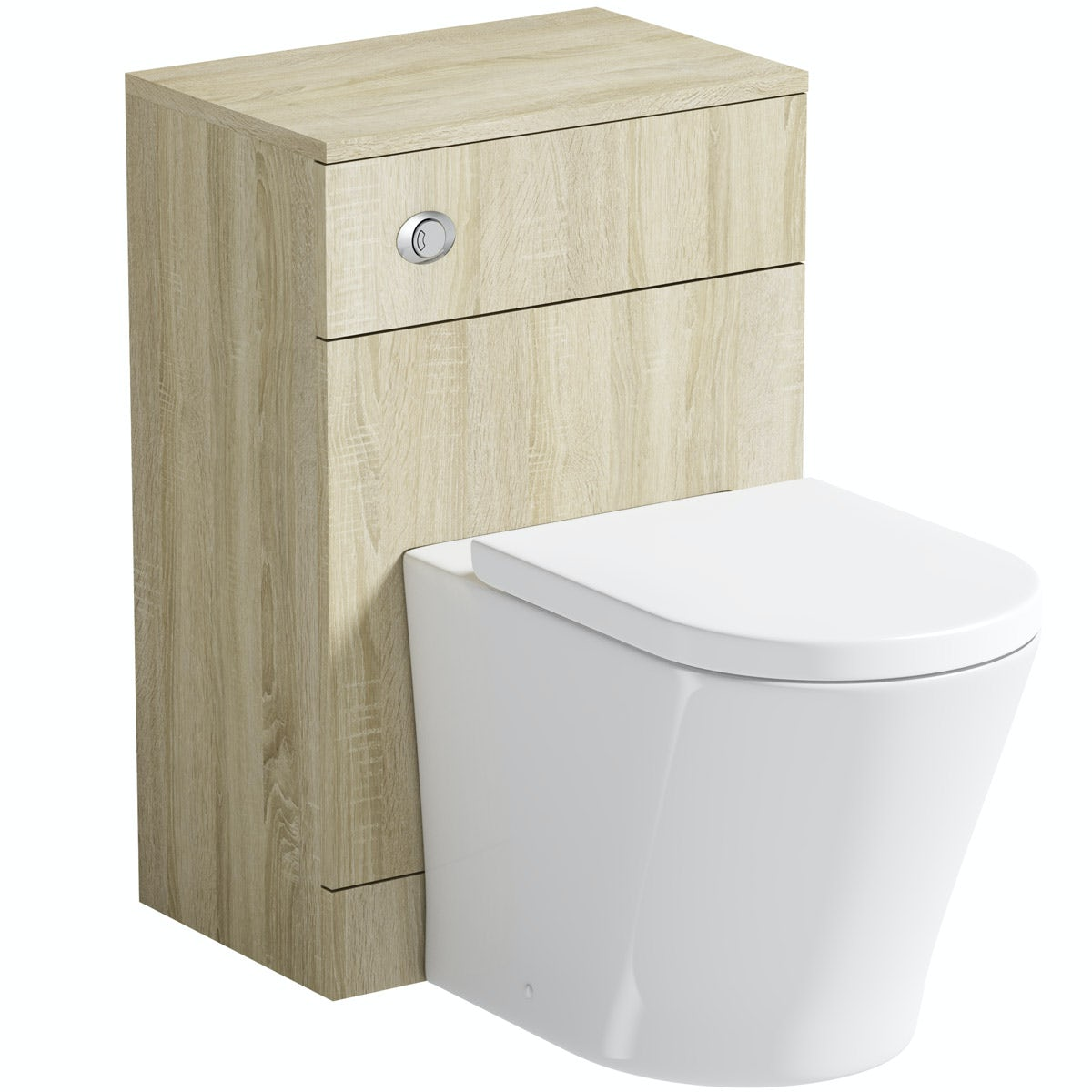 Orchard Eden oak back to wall unit with contemporary toilet and seat