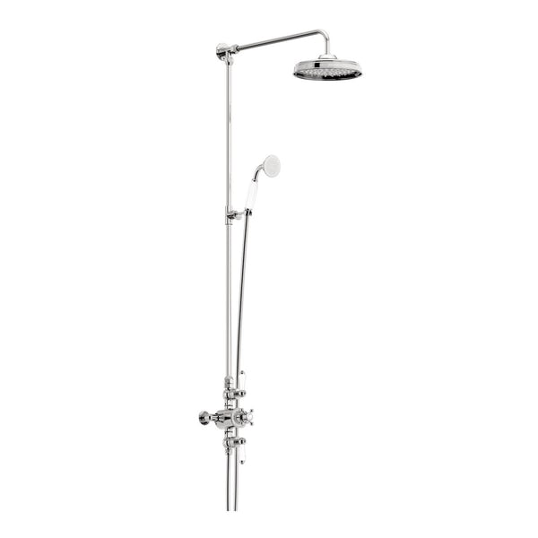 The Bath Co. Winchester pivot shower door suite with taps and shower system