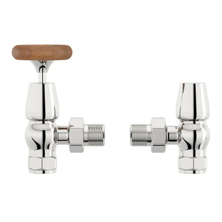 Traditional Angled Radiator Valves with Brown Handle