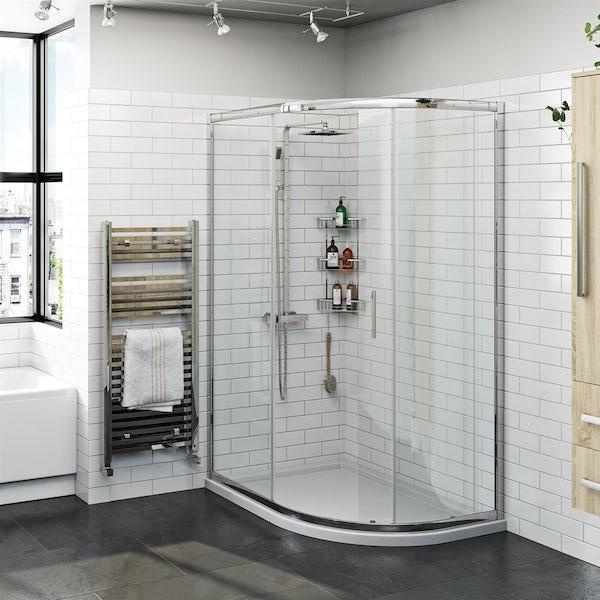 Orchard 6mm one door offset quadrant shower enclosure offer pack