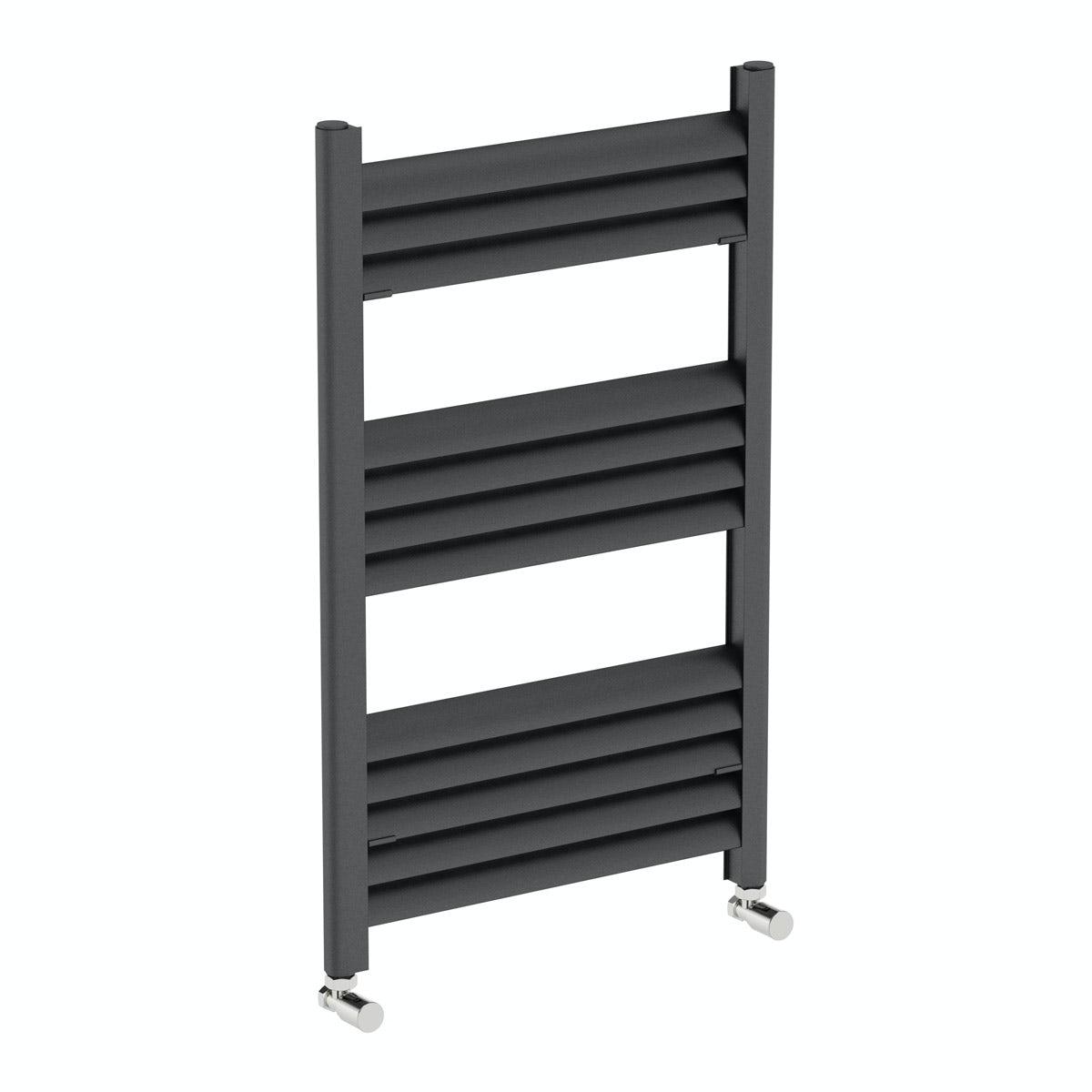 Mode Carter charcoal black heated towel rail 800 x 500