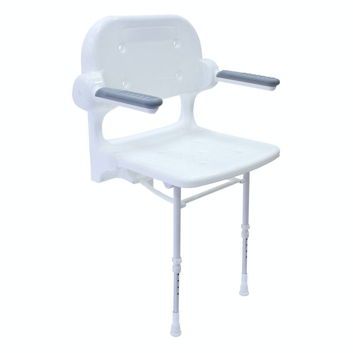 AKW 2000 series folding shower seat with back and arms