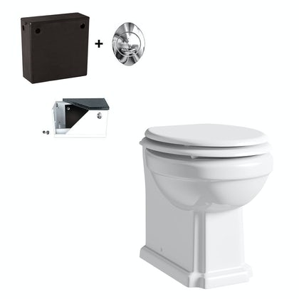 The Bath Co. Camberley back to wall toilet with white seat and concealed cistern