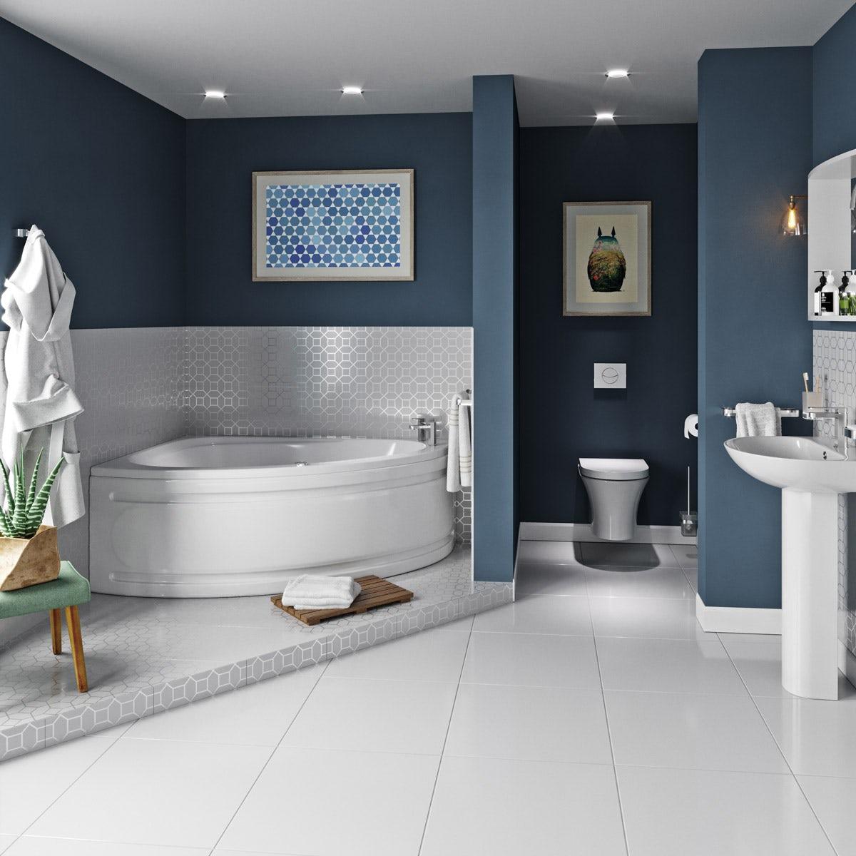 Mode Camden complete left handed whirlpool corner bath suite