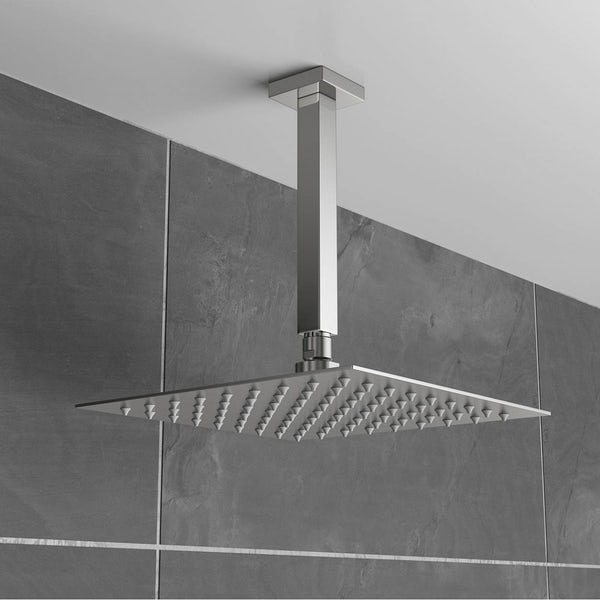 Brushed Stainless Steel Waifer Shower Head Square 200mm