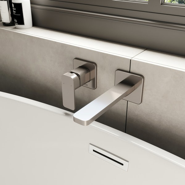 Mode Spencer square wall mounted brushed nickel bath mixer tap