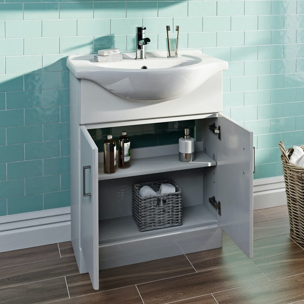 Eden white vanity unit and basin 650mm
