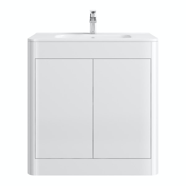 Carter ice white 800 floor mounted vanity unit with basin