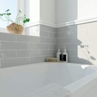 Laura Ashley Artisan french grey wall tile 75mm x 300mm